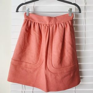 Structured Salmon High Waisted Skirt